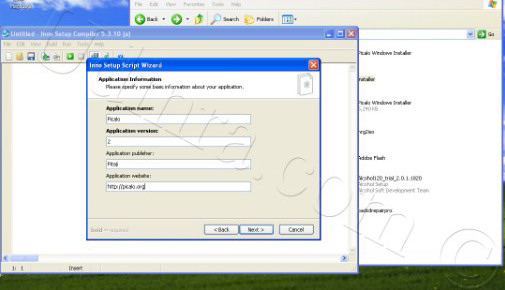Application information screen of inno setup wizard