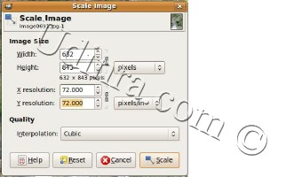 GIMP scale image option to scale or resize image