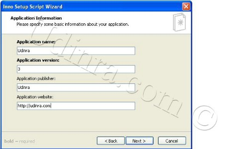 Inno Setup Application screen