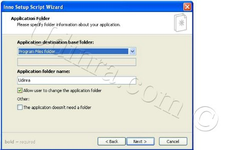 Inno Setup Script Wizard application folder screen