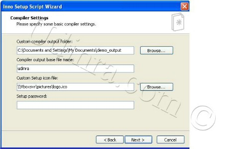 Inno Setup script wizard compiler settings screen