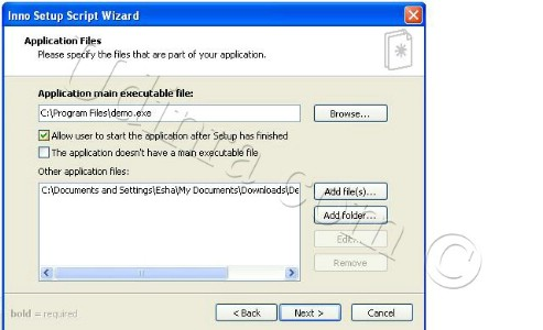 Inno setup script wizard application files screen