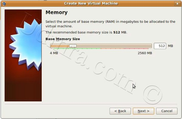 Memory screen of Create New Virtual machine option of Oracle VM Virtualbox picture