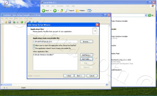 application files screen of inno setup wizard