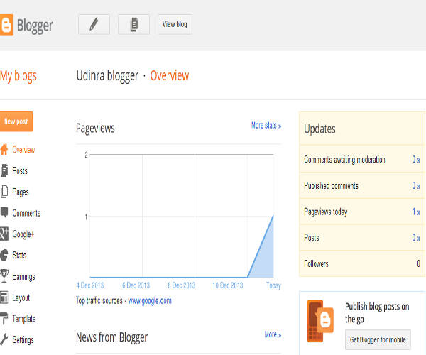 Blogger main options page