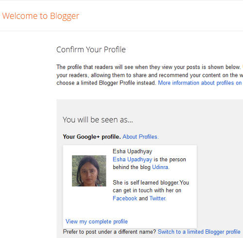 Blogger Confirm Profile Page