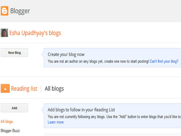 Blogger Create Blog Page