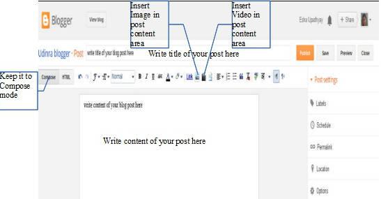 Blogger publish post page
