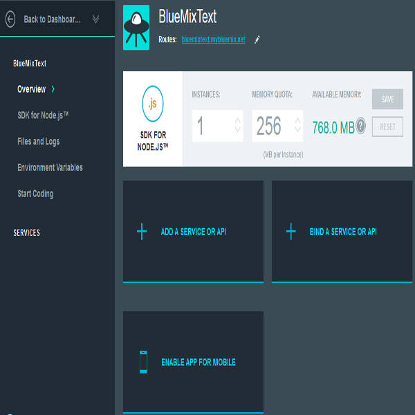 Bluemix App dashboard