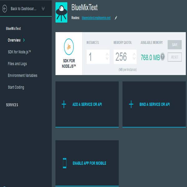 Bluemix App dashboard