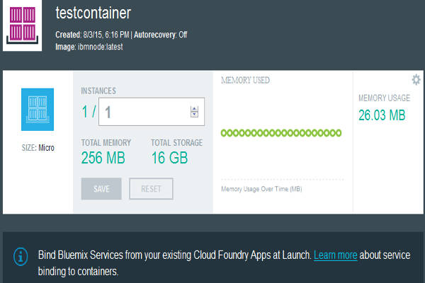 Bluemix Container Dashboard