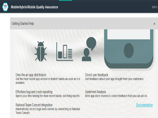 Bluemix Mobile Quality Assurance Services