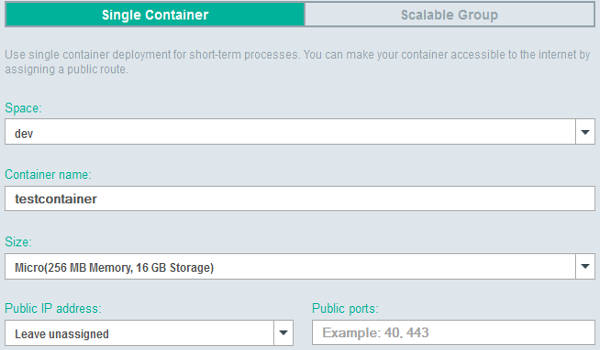Bluemix Single Container