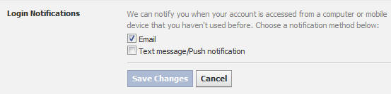 Facebook Login Notification option