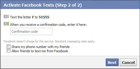 Facebook Mobile Send SMS Screen