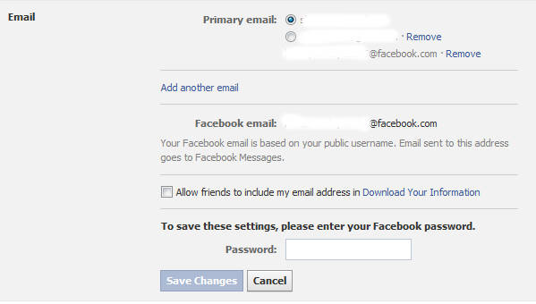 Facebook Primary Email option