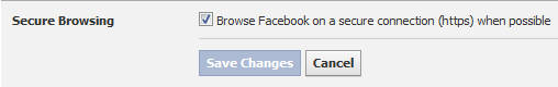 Facebook Secure Browsing option