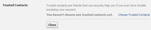Facebook Trusted Contact option