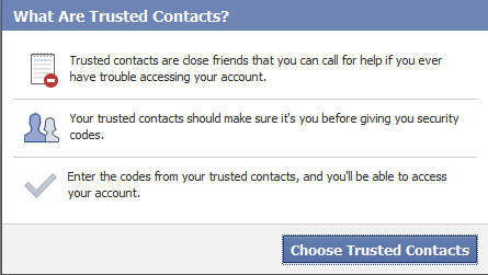 Facebook Trusted Contact popup