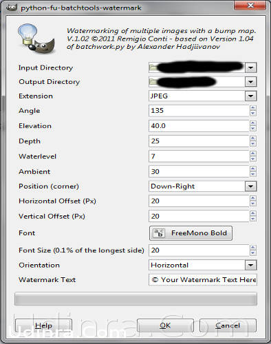 GIMP batch watermarks tool