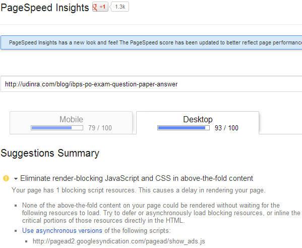 Google Adsense Synchronous Ad code score