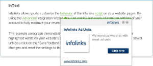Infolinks Intext ads