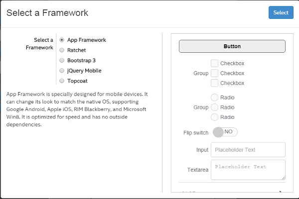 Intel XDK UI framework