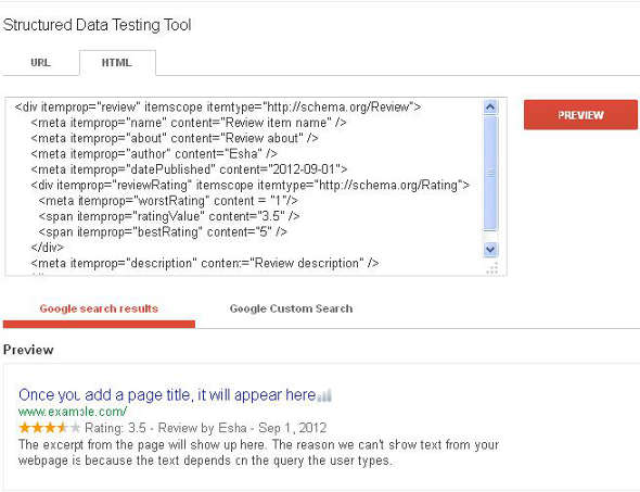 schema.org review tag testing with Google Structured data testing tool