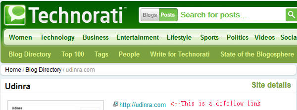 Technorati dofollow link