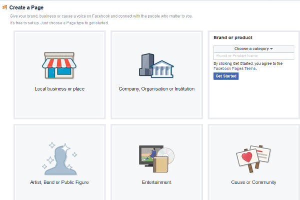 create-facebook-page-options